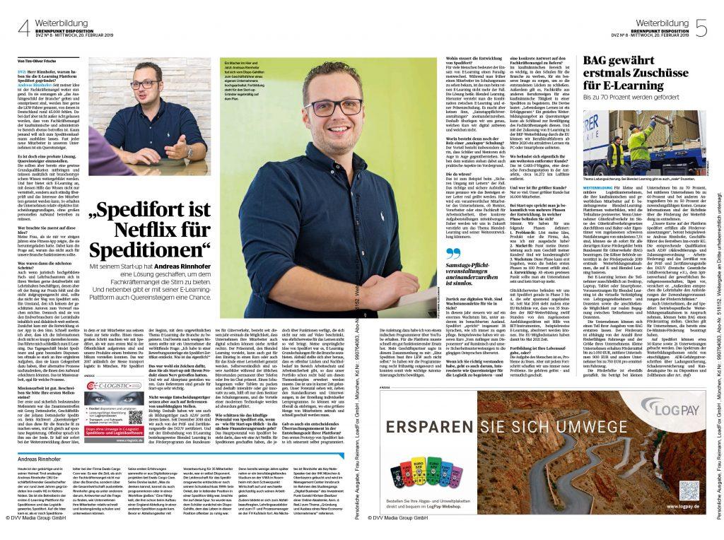 DVZ Artikel über Andreas Rinnhofer